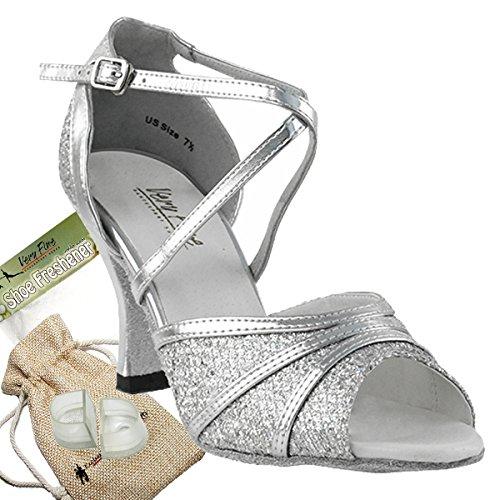 Women's Ballroom Dance Shoes Tango Wedding Salsa Dance Shoes Silver Sparklenet 6023EB Comfortable - Very Fine 2.5'' Heel 10 M US [Bundle of 5] by Very Fine Dance Shoes