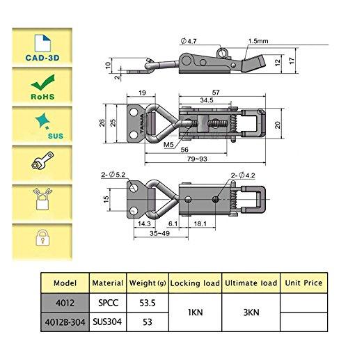 HomDSim Adjustable Cabinet Boxes Lever Handle Toggle Catch Latch Lock Clamp Hasp Furniture Furniture Parts & Acces (6PCS) by HomDSim (Image #4)