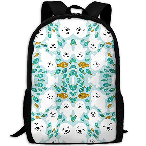 Fish White Baby Seal Animal in Blue Water Travel Laptop Computer Backpack Women & Men,College School Bookbag Girls & Boys