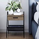Nathan James 32502 Hugo Nightstand Accent Rustic Wood Table with Drawer, Side, Gray