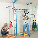 Huge Kids Playground Play Set for Floor & Ceiling / Indoor Training Gym Sport Set with Accessories Equipment: Climber, Rope Ladder, Swing, Gymnastic Rings, Climbing Rope / WALLBARZ Jungle Dome
