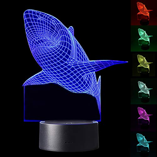 YiaMia 3D Shark LED Night Light Multi 7 Color Changing Touch Switch Optical Table Lamp USB Powered for Home Room Bar Party Festival Decor Kids Room Decoration ()