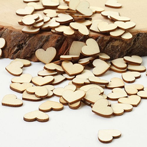 Andaz Press Wood Heart Confetti, Plain, 100-Pack, For 1st Birthday Wedding Bridal Baby Shower Rustic Outdoor Burlap Kraft Brown Theme Colored Party Supplies Tableware Decorations Guest Book Names