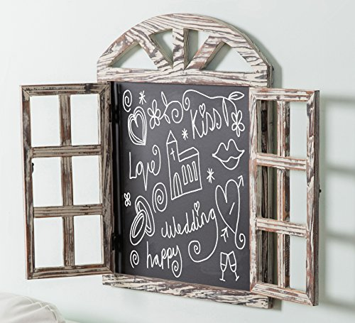 Wall Mounted Whitewashed Brown Wood Windowpane Design Chalkboard Sign with Folding Shutter Doors