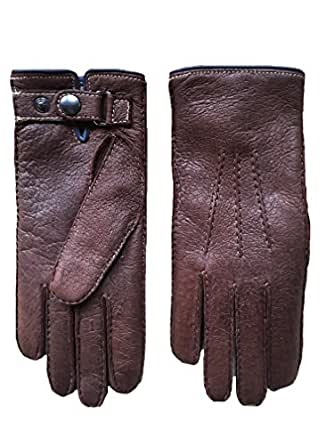Men's Winter Gloves made of Peccary Leather with Cashmere