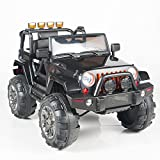remote control big foot truck - Kids 12V Electric Power Ride On Jeep Truck with Big Wheels RC / Remote Control, Black