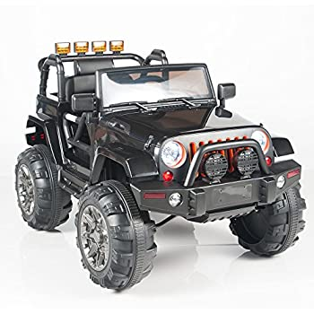 kids 12v electric power ride on jeep truck with big wheels rc remote control black