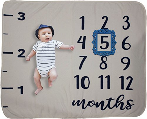 Monthly Milestone Baby Blanket: Premium Quality and Density, Photography Prop/Set for Boys or Girls, Background for Infants, Swaddle Throw for Newborn, Baby Shower Gift (Throw Personalized Baby)