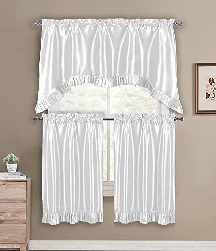 DUCK RIVER TEXTILES - Bella Ruffle Kitchen Window Curtain Tier & Valance Set, 2 28 X 36 Inch | 1 55 X 36 Inch, White