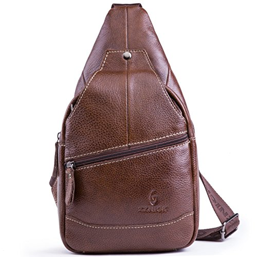 Genuine Leather Shoulder Sling Backpack Bag Unisex Outdoor Crossbody Sling Pack Sport - Leather Backpack Sling