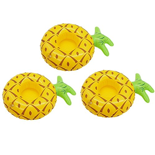Koolyft 3PC Inflatable Coasters For Swimming Pools, Beverage Coasters, Micro-inflatable Floats, Inflatable Cup Holders (pineapple)