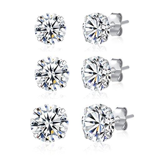 - 3 Pairs 925 Sterling Silver Cubic Zirconia Stud Earrings 5mm-6mm-7mm Set Men Women