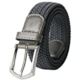 "Weifert Men's Stretch Woven 1.3"" Wide Elastic Braided Belts (34-37, Gray)"
