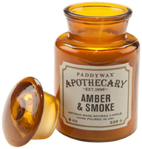 Apothecary Jar Candle - Paddywax Apothecary Collection Scented Soy Wax Jar Candle, 8-Ounce, Amber & Smoke