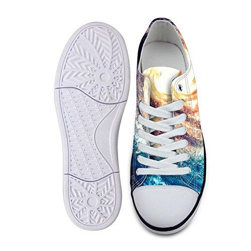 För U Designar Snygga Unisex Galax Print Duk Mode Sneaker Tillfällig Spets-up Låg Topp Platta Skor Galax B5