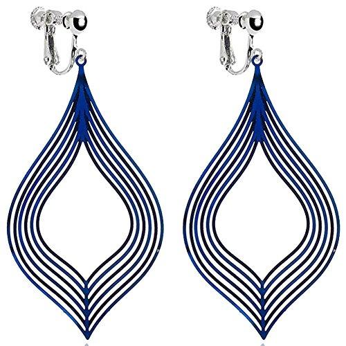 Handcrafted Blue Metal Frosted Stripe Clip On Dangle Earrings Screwback Art Deco for Girls Women