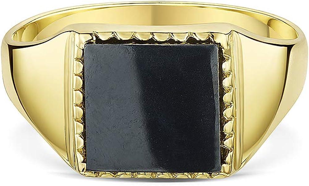 Theia Men's 9 ct Yellow Gold, Square Shape Signet Ring Hematite