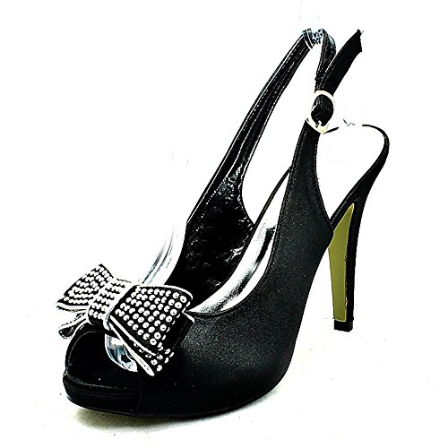 Shoes Bridesmaid Studded Heel Diamante Straps Satin Black Ladies High 0RwZgzgq