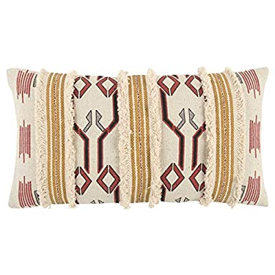 "Rizzy Home T13244 Decorative Pillow, 14""X26"", Yellow/Red - Pillow Cover with a Poly Fill Rizzy Home cushions offer a luxurious feel with a comfortable & warm touch, their modern designs will add a cohesive and interesting look to your design scheme Mix and match these decorative throws in all areas of the home both inside and out including sofa's, chairs, benches, beds, and floors. Add color and texture to any room or outdoor space. - living-room-soft-furnishings, living-room, decorative-pillows - 51%2BeKeNdRhL. SS400  -"