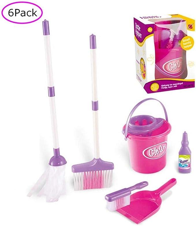 Juego de limpieza para niños con recogedor y cepillo – incluye 5 juguetes de limpieza escoba, cubeta, fregona, recogedor y cepillo, juguete pequeño de Mommys Little Helper Mini tamaño juego de limpieza