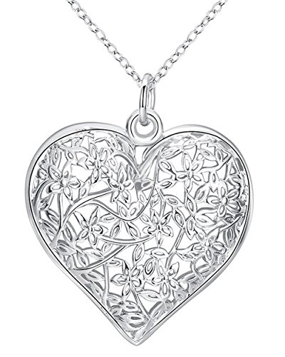 Wide Puffed Heart - Goldenchen Fashion Jewelry 925 Sterling Silver Plated Hollow Pattern Textured Puffed Heart Pendant Necklace