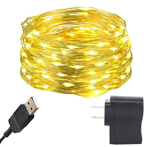 HAHOME 33Ft 100 LEDs USB Starry String Lights with Power Adapter for Wedding Christmas Party Decoration,Yellow