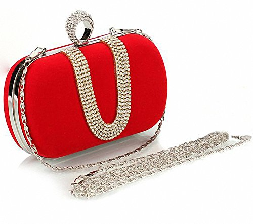 Afibi Women Red Crystal Finger Evening Party Handbags Shoulder Bag Clutch (Red)