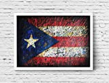 Puerto Rico Flag, Hand-Painted Flag of Puerto Rico, Distressed Flag, Vintage Mixed Media Art, Rustic, Industrial Style, Flag Painting