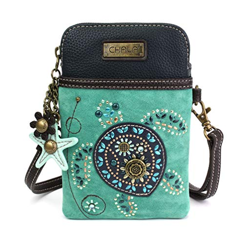 (Chala Crossbody Cell Phone Purse-Women Canvas Multicolor Handbag with Adjustable Strap (Turquoise))