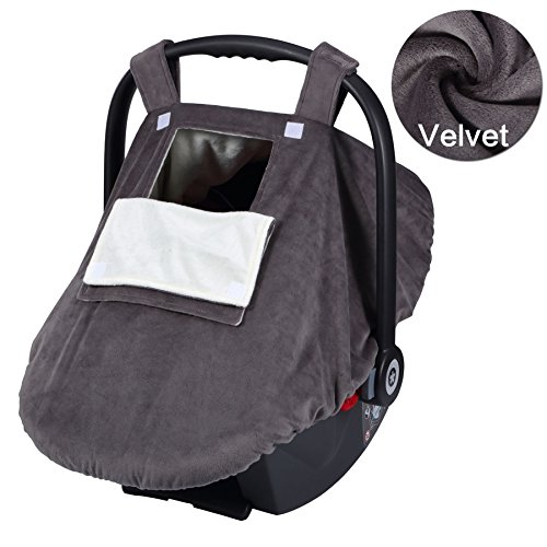 YIHANG Baby Car Seat Covers for Girls and Boys, Infant Canopy WITH Window-Flap System, Baby Car Seat Cover for Autumn and winter(Grey) (Girl Baby Car Seat Covers compare prices)