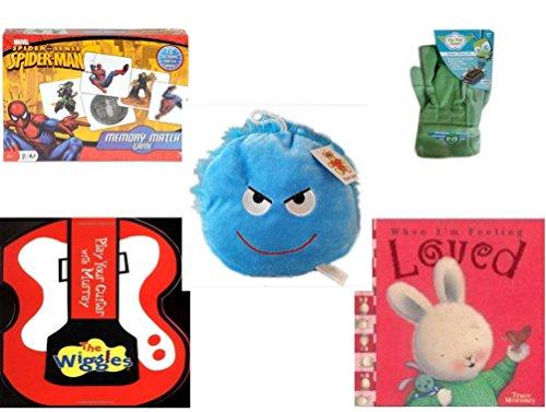 Children's Gift Bundle - Ages 3-5 [5 Piece] - Spider-Man Memory Match Game - Sky High Hopper Garden Starter Set - Plush Appeal Bright Blue Mischievous Face Plush 7