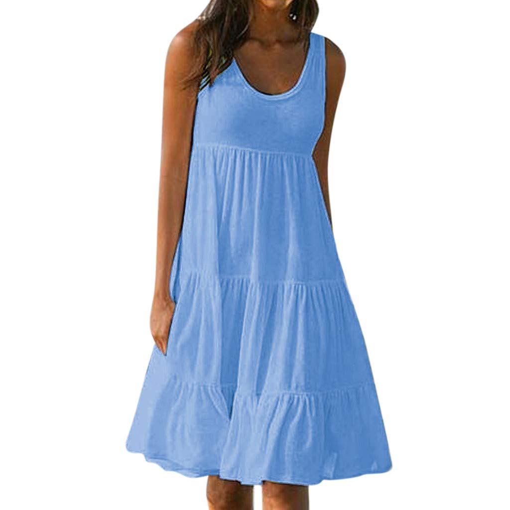 Todays Deals Clearance Womens Holiday Summer Solid Sleeveless Party Beach Dress