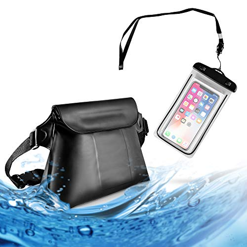 MCleanPin Larger Waterproof Pouch & Universal Phone Case,Dirtproof Dry Bag with 2 Inner popckets,Double Protection Lightweight Fanny Pack for Swimming, Kayaking,Snorkeling,Boating,Skating,Cool Black