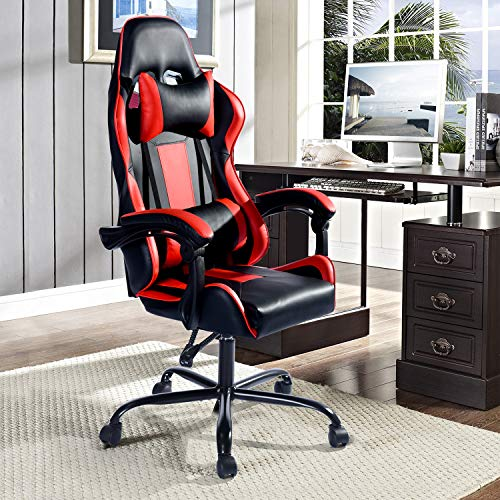 Cheap Aingoo Gaming Computer Chair Red High Back Ergonomic Racing Chair Swivel Chair Headrest Lumbar Support