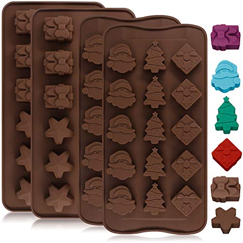 4 Pack Silicone Chocolate Candy Molds Trays, DanziX Baking Jelly Molds, Cake Decoration, with Shapes of Star, Gift Box, Christmas Tree, Santa Head - 2 Types