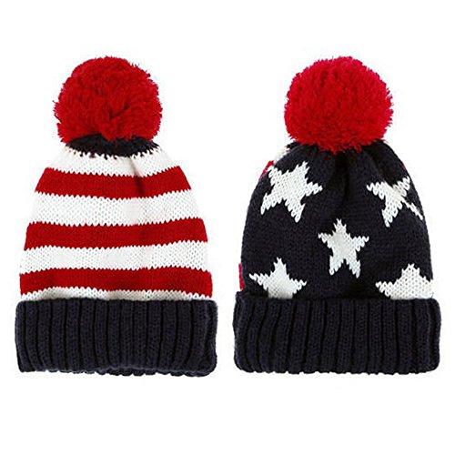 AStorePlus Unisex Winter Warm US Flag Knit Crochet Rib Pom Pom Beanie Hat Cap, Blue & Red