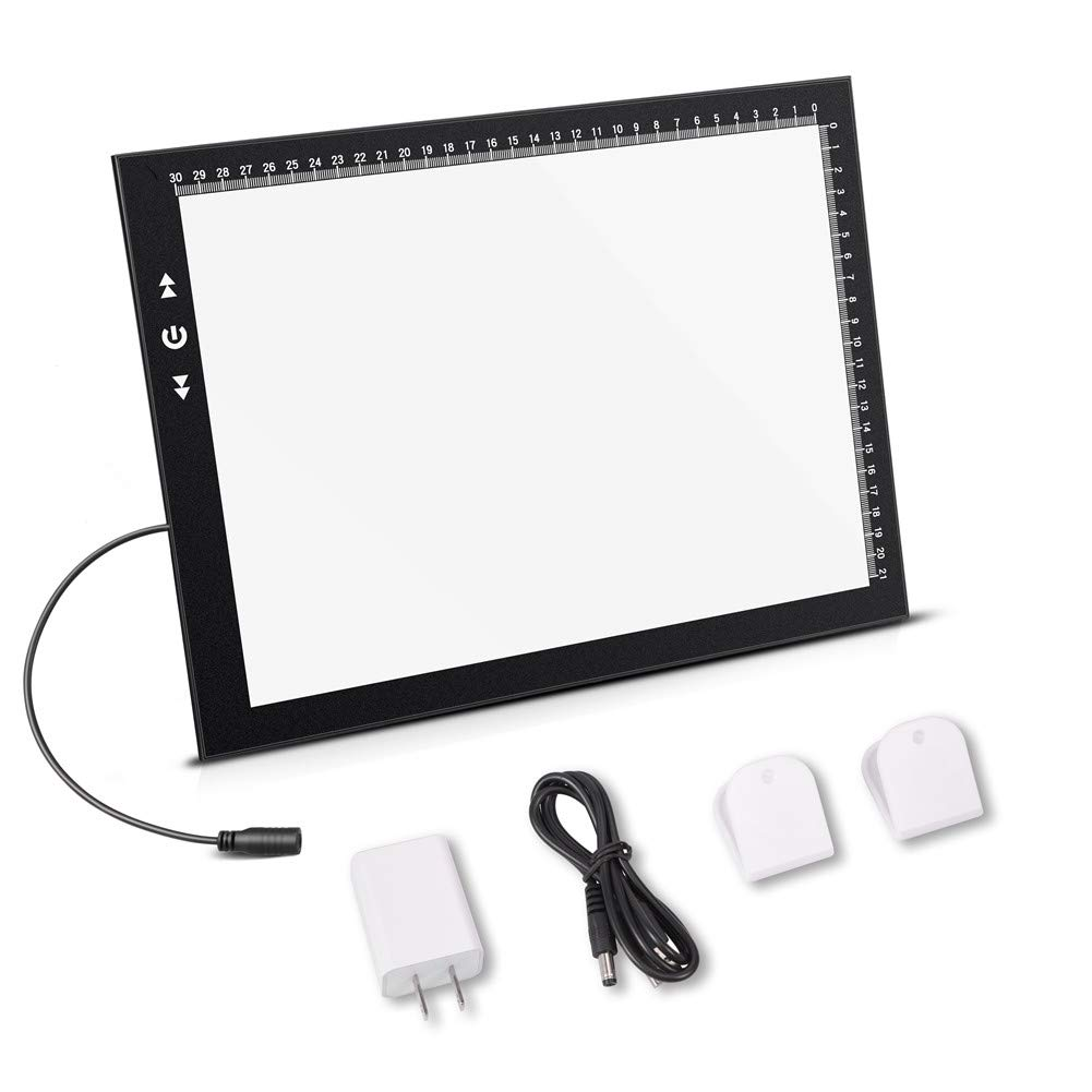 A4 Led Light Box Light Pad New Improved Structure Touch Dimmer 8W Super Bright Max 4500 Lux with Free Carry/Storage Bag 2 Years Warranty (A4 Light Pad) by HSK