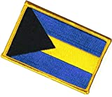 [2 Count Set] Custom and Unique (2.25'' x 3.5'' Inch) Custom & Unique Cute Simple Bahamas Country Flag Rectangular Design Iron On Embroidered Applique Patch {Black, Yellow, & Blue Colors}