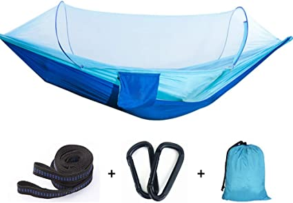 G4Free Portable 2 Person Hammock Lightweight Parachute Fabric Camping Hammock Including Hammock Ropes Steel Carabiners for outdoor Sleeping Camping Hiking Traveling