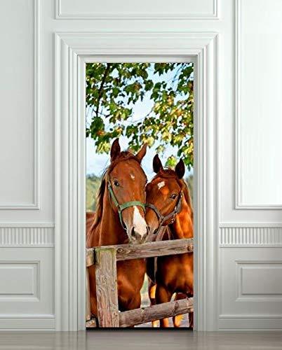 JIAER Fai da Te Adesivo Murale 3D Decorazioni per La Casa Cavalli Stallo Fienile Adesivo per Porta Rimovibile Decor 77X200CM