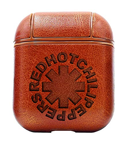 Rock Band RED HOT Chili Peppers (Vintage Brown) Air Pods Protective Leather Case Cover - a New Class of Luxury to Your AirPods - Premium PU Leather and Handmade exquisitely by Master Craftsmen