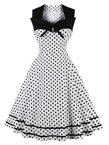 Olddnew Women's Polka Dot 1950's Retro Vintage Style Cocktail Party Swing Dress (S, White)
