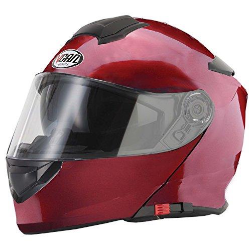 Burgundy Motorcycle Helmet - 9