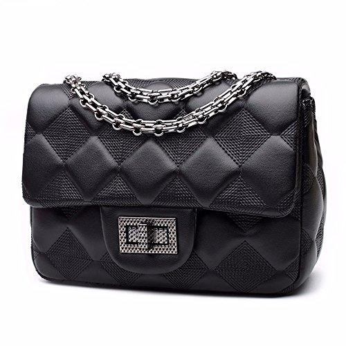 Nueva lingge cadena bolsa, bolso de hombro, bolso de señoras diagonal,Black Large Black