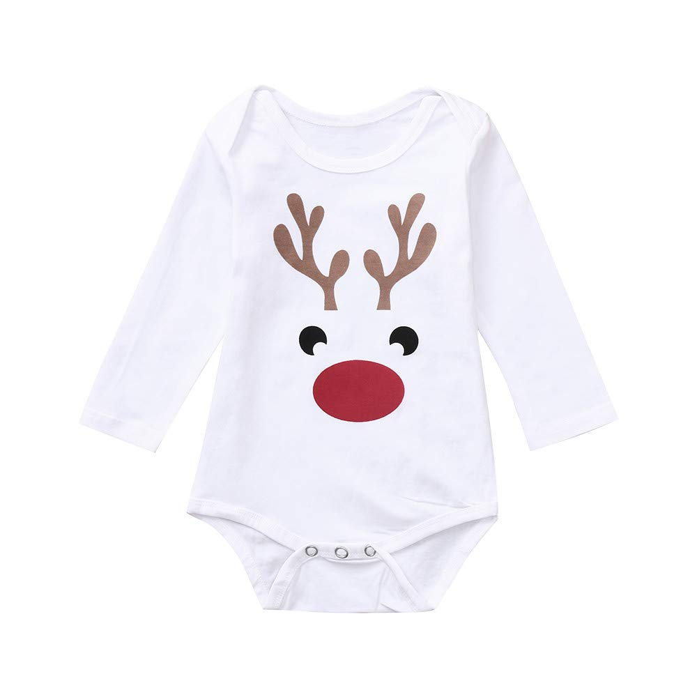 Sixcup BabyUnisex Christmas Deer Elk Long Sleeves Romper Xmas Clothes Toddler Newborn Infant Baby Boy Girl Jumpsuit Outfits Pajamas Clothing