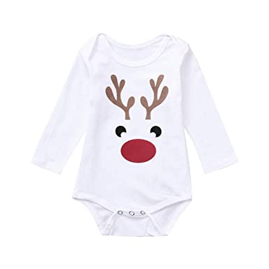 7a6e8ff23c9 Sixcup BabyUnisex Christmas Deer Elk Long Sleeves Romper Xmas Clothes  Toddler Newborn Infant Baby Boy Girl Jumpsuit Outfits Pajamas Clothing   Amazon.co.uk  ...