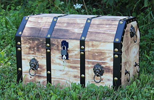 Vintiquewise QI003319L Large Wooden Decorative Lion Rings Pirate Trunk with Lockable Latch and Lock, Tan
