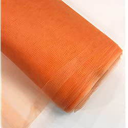 "Craft and Party, 54"" by 40 Yards (120 ft) Fabric Tulle Bolt for Wedding and Decoration (Orange)"