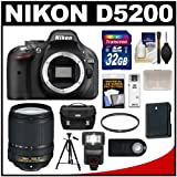 Nikon D5200 Digital SLR Camera Body (Black) with 18-140mm VR Lens + 32GB Card + Case + Flash + Battery + Filter + Tripod Kit, Best Gadgets