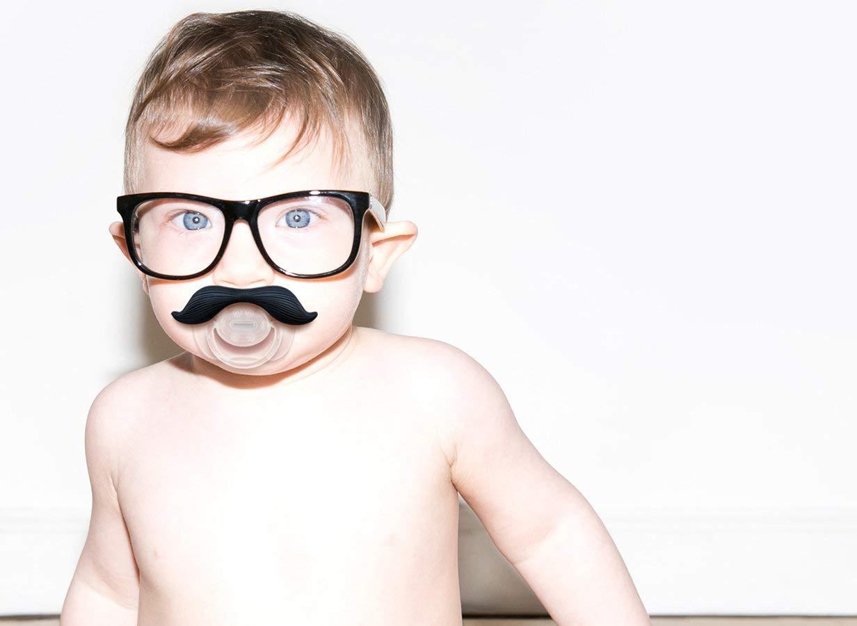 Hipsterkid BPA Free Mustachifier for Kids 0-48 Months in Gentlemen Black PCSTA01